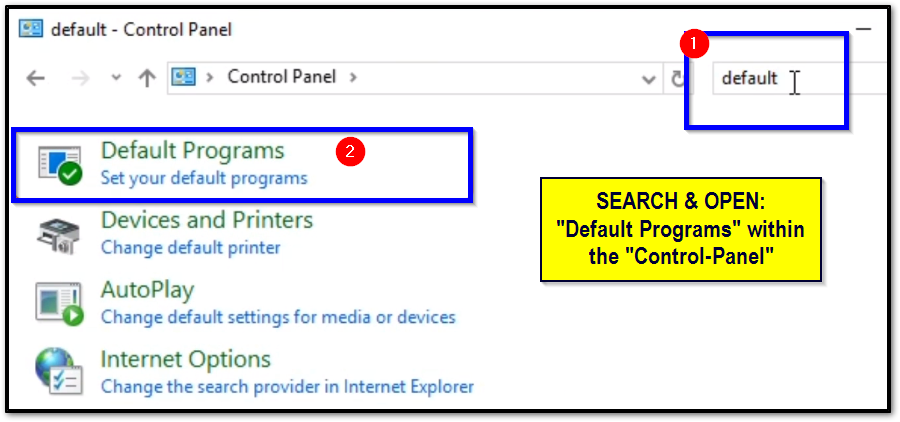 "[Control Panel] Search for ""Default Programs"""