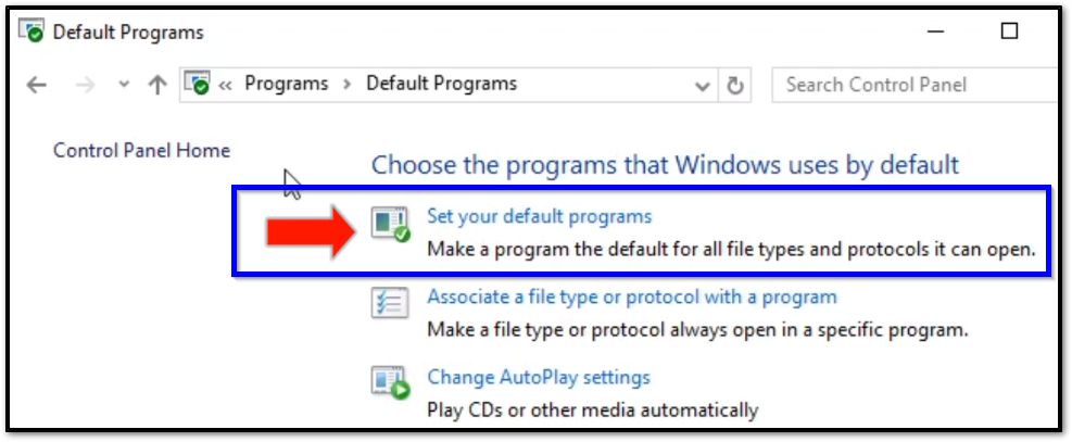 "[Default Programs] from within ""Control Panel"""